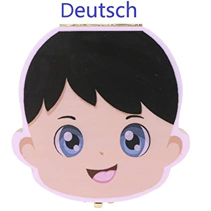 kompassswc Niños Leche dientes para madera para dientes de leche (Alemán Palabra dientes Box –