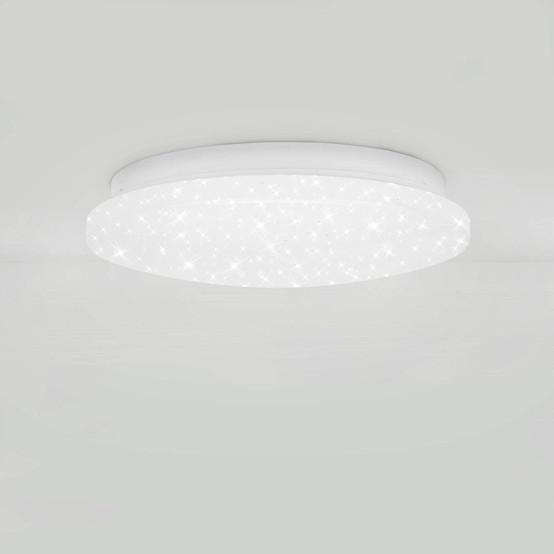 900 Lumen 8 Watt Wei/ß Deckenlampe mit Sternendekor 8 W Rund 4.000 Kelvin /Ø 22cm Briloner Leuchten LED Deckenleuchte