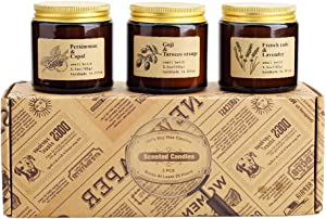 TOFU Scented Candles, Gift Set of 3 Rustic Apothecary Amber Jar Soy Candles - Natural Organic Soy Wax Candles for Aromatherapy, Stress Relief, Relaxation, Home Decor, Women & Men (3.5oz Each)