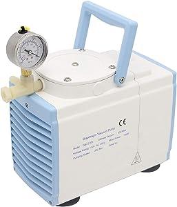 NEWTRY Oil Free Diaphragm Vacuum Pump 20L/min Oil-Less Pressure Adjustable 160W 1 Head GM-0.33A 110V/220V