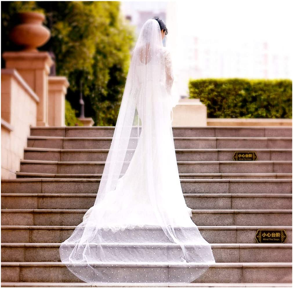 Azaleas Wedding Bridal Veil with Comb 1 Tier Cut Edge Fingertip&Cathedral Length Pearl(V05)