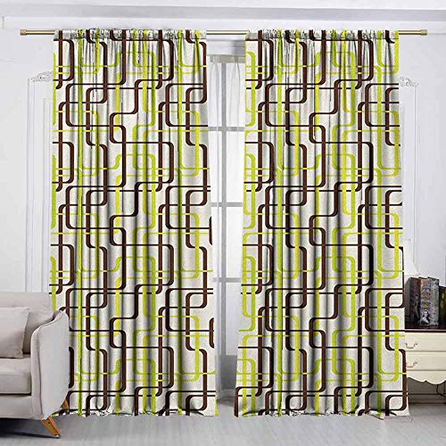 (VIVIDX Bedroom Curtains,Geometric,Sixties Fashion Inspired Intertwined Lines Stylish Shapes,Thermal Insulated Light Blocking Drapes for Bedroom,W55x72L Inches Chestnut Brown Apple Green Cream)