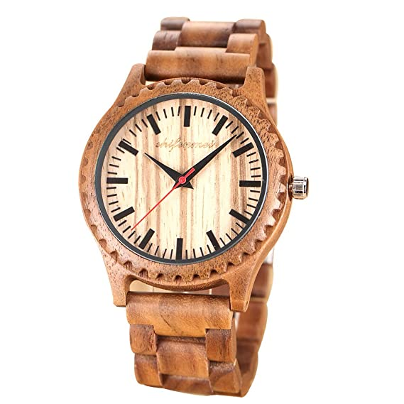 HWCOO Hermosos Relojes De Madera Reloj de Cuarzo de Madera Zebra Wood para Hombre (Color : 1): Amazon.es: Relojes