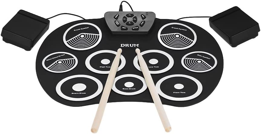Fesjoy Set de batería de 9 pads Kit de batería electrónica portátil Roll Up Drum Kit 9 Silicon Pads USB Powered with Foot Pedals Drumsticks Cable USB para estudiantes Niños: Amazon.es: Instrumentos