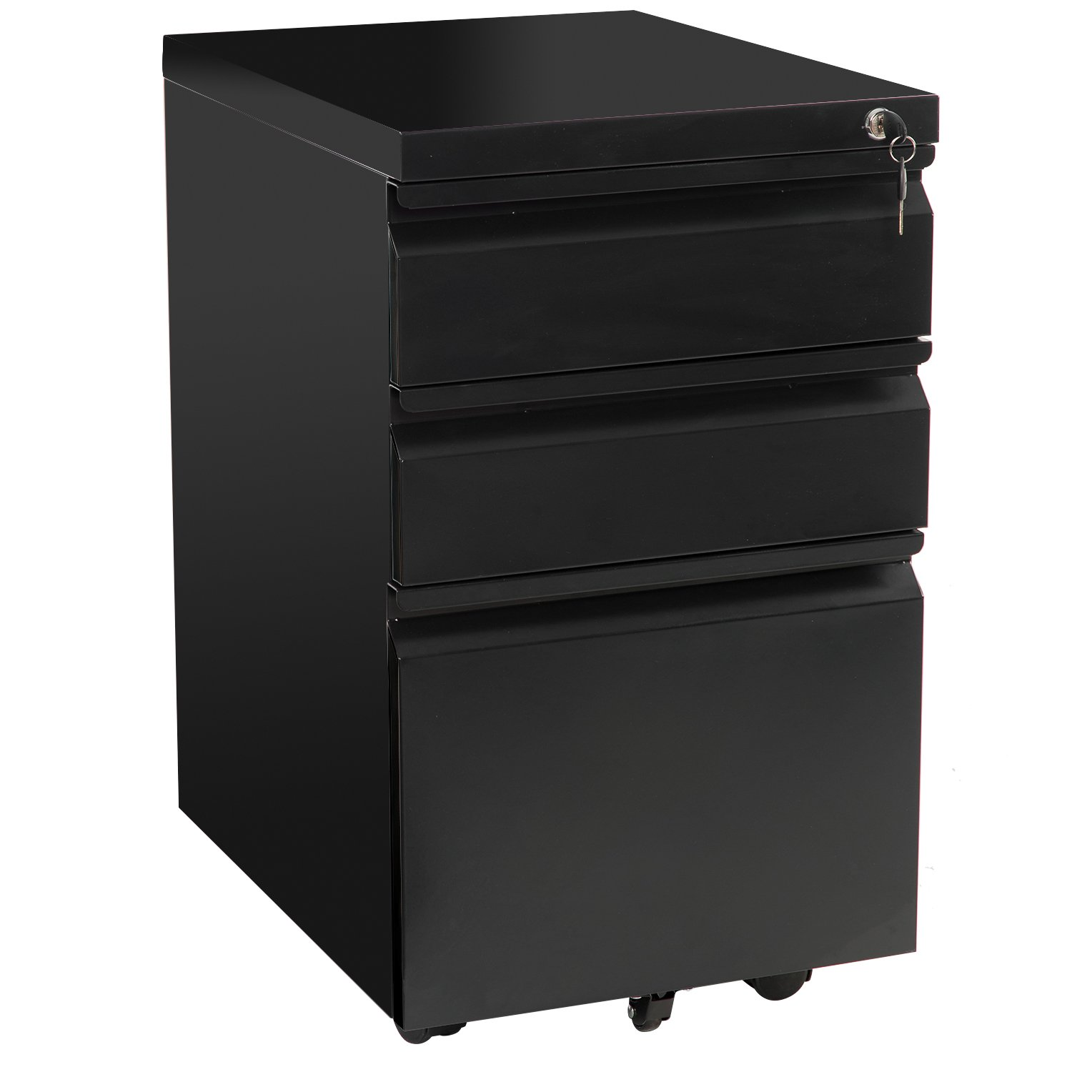 Merax 3-Drawer Mobile File Cabinet with Keys - Fully Assembled Except Casters (Black)