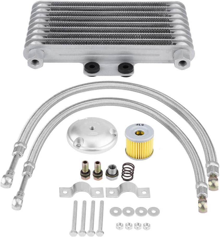 Yctze Enfriador de aceite de motocicleta, 125 ml Kit de sistema de radiador de enfriamiento de aceite de motor de enfriador de aceite de motocicleta apto para moto 125CC 150CC 200CC