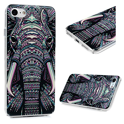 iPhone 7 Case, iPhone 8 (4.7), YOKIRIN Printed Slim Fit & Lightweight Flexible Hard PC Back Protective Cover Transparent Crystal Clear Scratch-Proof Bumper Skin for iPhone 7 (2016) - Tribal Elephant