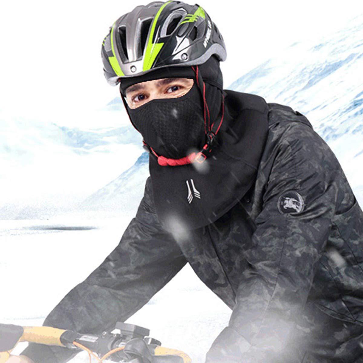 VDROL Balaclava Ski d\'hiver Protection Réfléchissante Balaclava Moto Coupe-Vent Chapeau Cyclisme Chaud en Visage Cou pour Le Ski, Le Snowboard, la Moto et Sports Exterieurs (Hommes et Femmes, Noir)