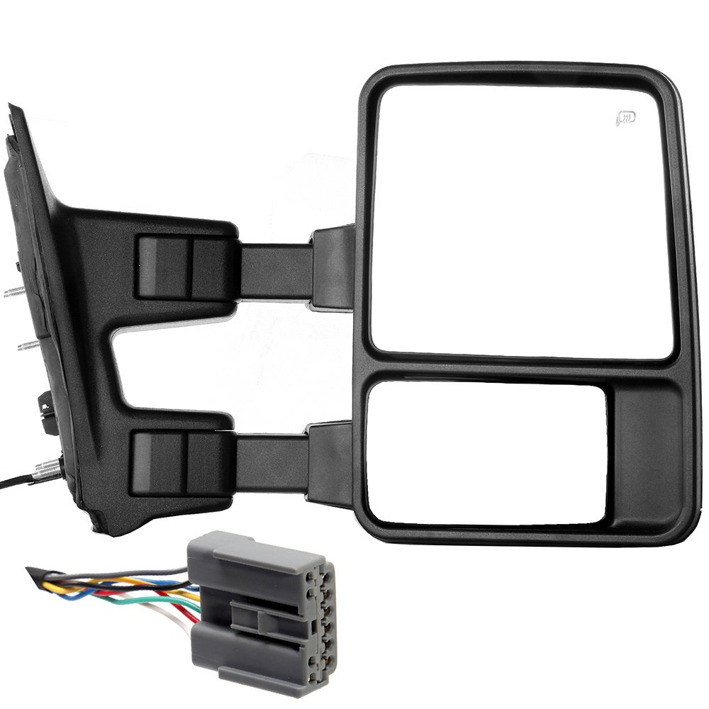 SCITOO Ford Towing Mirror Right Side Rear View Mirror for 2003-2007 Ford F-250 F-350 F-450 F-550 Super Duty with Power Control Heated Manual Telescoping Manual Folding and Turn Signal Light Feature
