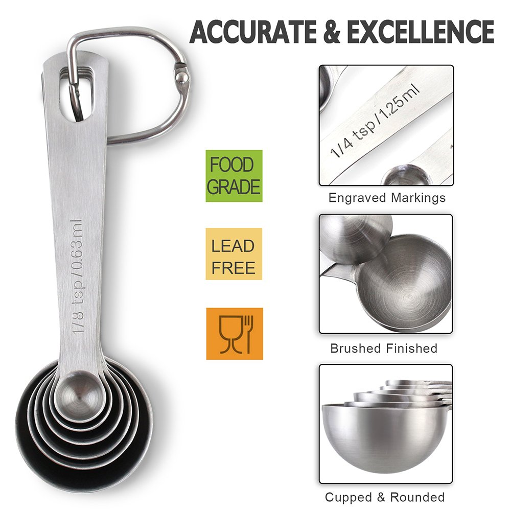 1Easylife 188 Stainless Steel Measuring Spoons Set of 6 for Measuring Dry and Liquid Ingredients
