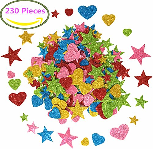 Foam Glitter Stickers Self Adhesive, Mini Heart and stars Shapes