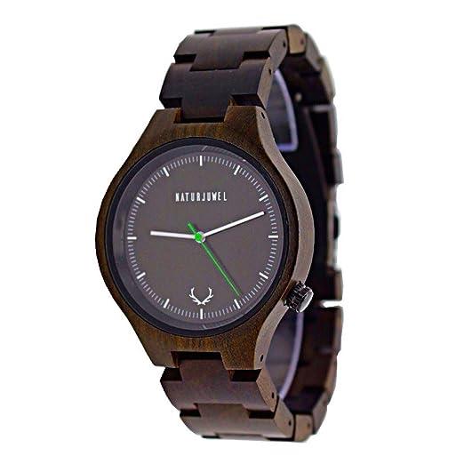 Especiales NATURJUWEL reloj de pulsera hecha a mano de madera natural; Color Sandalwood con madera pulsera ...