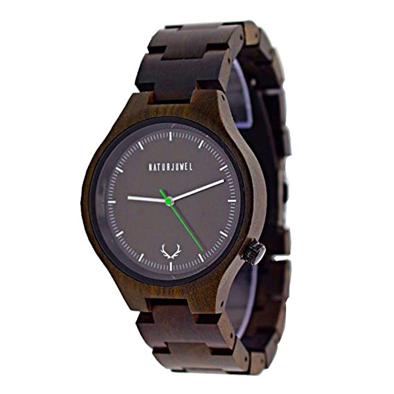 Especiales NATURJUWEL reloj de pulsera hecha a mano de madera natural; Color Sandalwood con madera