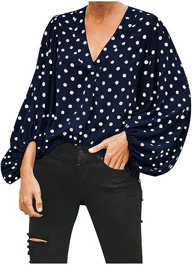 Camiseta de Mujer Suelto Ajustado Blusa Moda Camisa Lunares Plisada Cuello V Elegantes Casual Mujeres Cardigan Tops Otoño e Invierno Tallas Grandes riou: Amazon.es: Ropa y accesorios