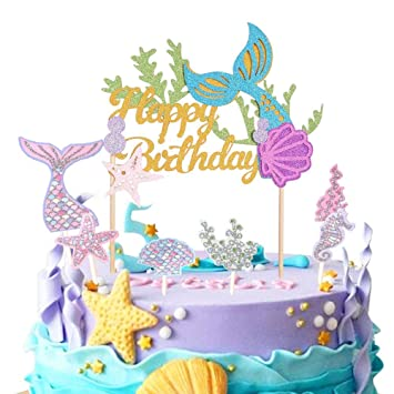 Mermaid Cake Topper Happy Birthday Decoration For Baby Shower Party Supplies