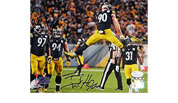 ad653c4e1 TJ Watt Autographed Pittsburgh Steelers 8x10 Jumping PF- JSA W Auth Holo Blk  at Amazon s Sports Collectibles Store