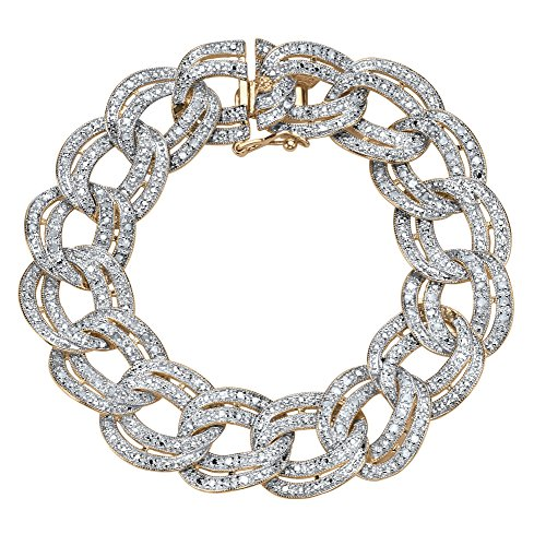(Palm Beach Jewelry 18K Yellow Gold-Plated Rollo Link Bracelet (17mm), 7/8 cttw Diamond, 7.25