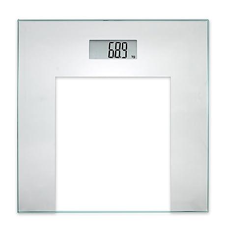 TROP báscula de baño digital, gris plata, base de vidrio templado, con pantalla