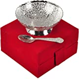 Jaipur Ace Silver Plated Brass Bowl With Spoon (Abs00033 )