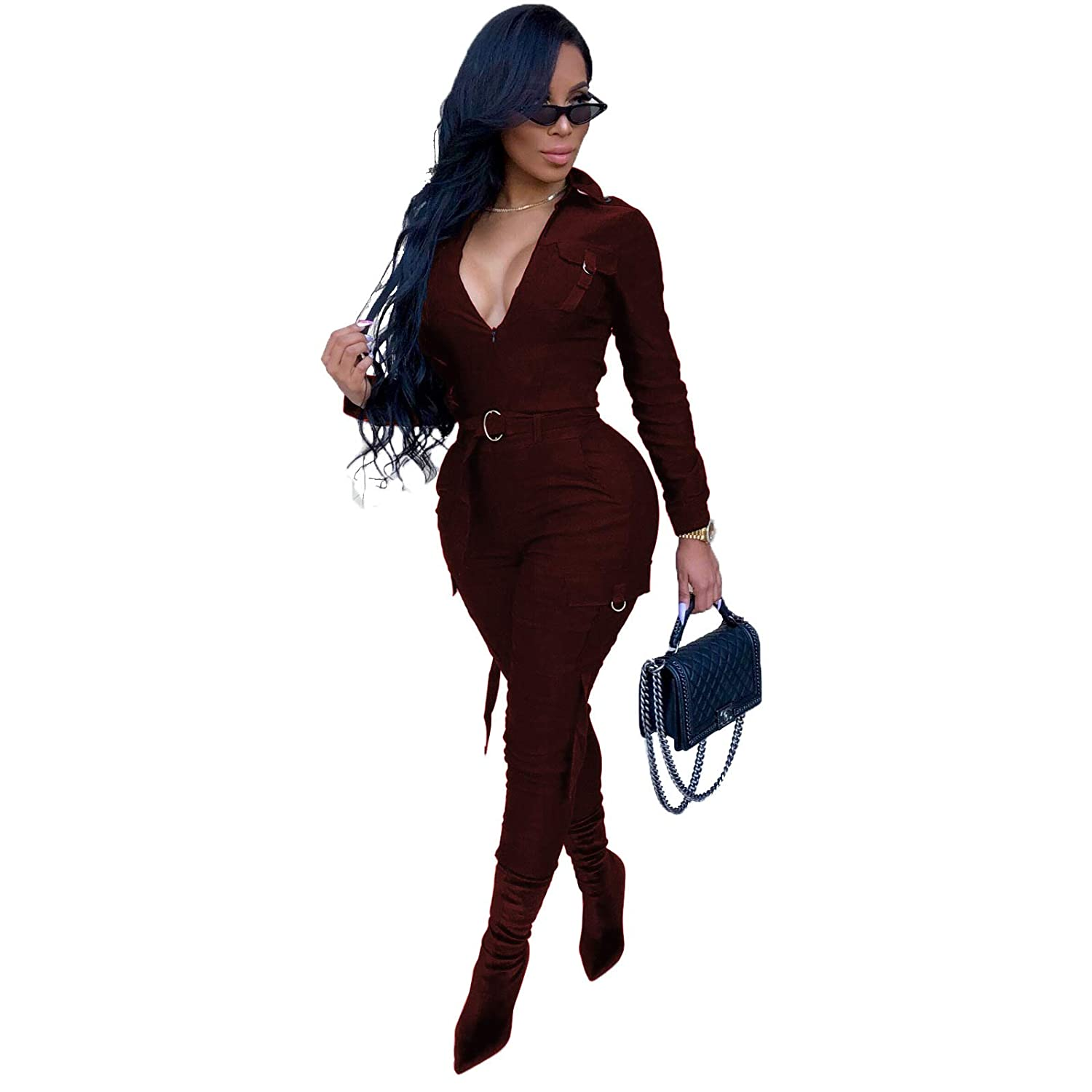 8fff42dad69 Amazon.com  Long Sleeve Bodycon Jumpsuits for Women Party Night Sexy  Clubwear Solid Long Pants Rompers Plus Size  Clothing