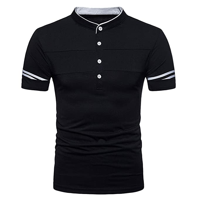4910dca1 Mens Casual Short Sleeve Polo Shirts Henley Shirt Grandad Neck T-Shirts  Tees Button Placket