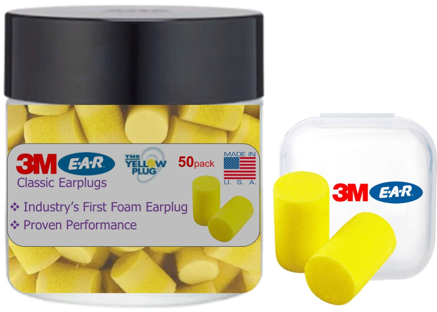 3M Classic Ear Plugs, Foam Earplugs for Noise Reduction and Sleep 50 Count in a Jar