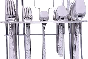 Bin Shihoun-Abomar Stainless Steel Cutlery Set With Stand - Silver With Gold Pattern - 37 Pieces