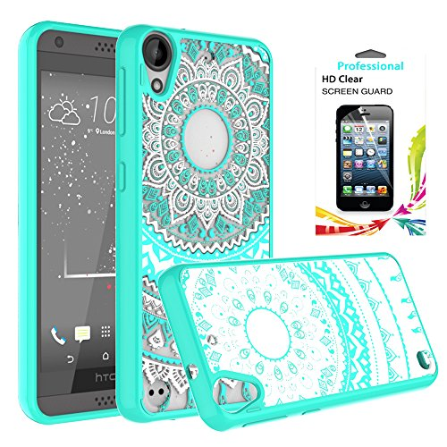 HTC Desire 530/ Desire 630 Clear Case with HD Screen Protector, AnoKe [Scratch Resistant] Colors Mandala Flower Acrylic Hard TPU Bumper Slim Fit Case for HTC 530/630/555 TM CH Mint (Htc Case)