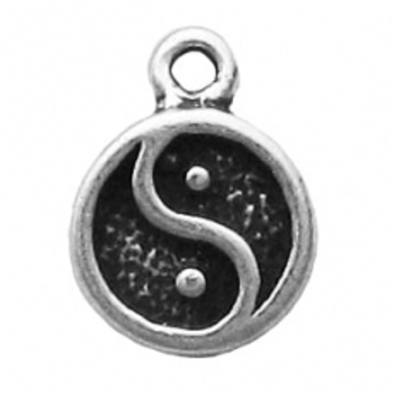 Sterling Silver 7 4.5mm Charm Bracelet With Attached Mini Yin Yang Charm