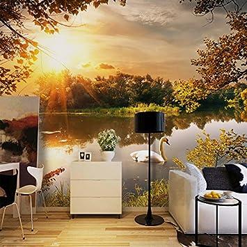 Lwcx Fototapete Sonnenuntergang See Natur Landschaft Wandbild