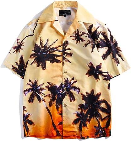 Weentop Camisa Casual de Playa de Manga Corta con Botones para Hombre Hawaiana Tropical Casual (Color, tamaño : XL): Amazon.es: Hogar