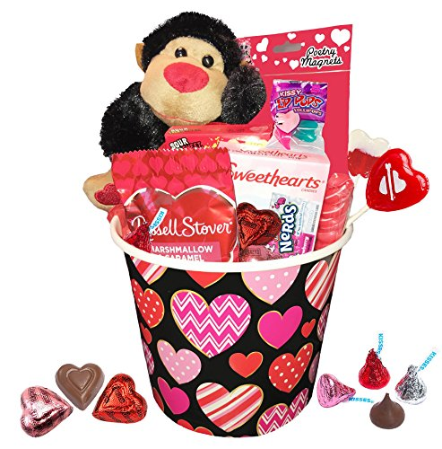 Hers Buckets - Valentine Day Gift For Her & Him - Valentines Gifts Set For Kids - All Premium Brand Name Chocolate & Sweets Gift Baskets