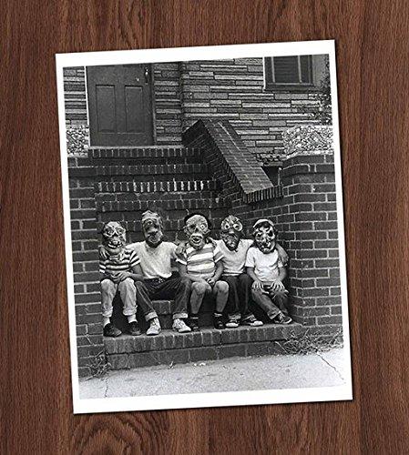 (Creepy Boys Kids Friends Photo Vintage Art Print - 8x10 Wall Art - Halloween)