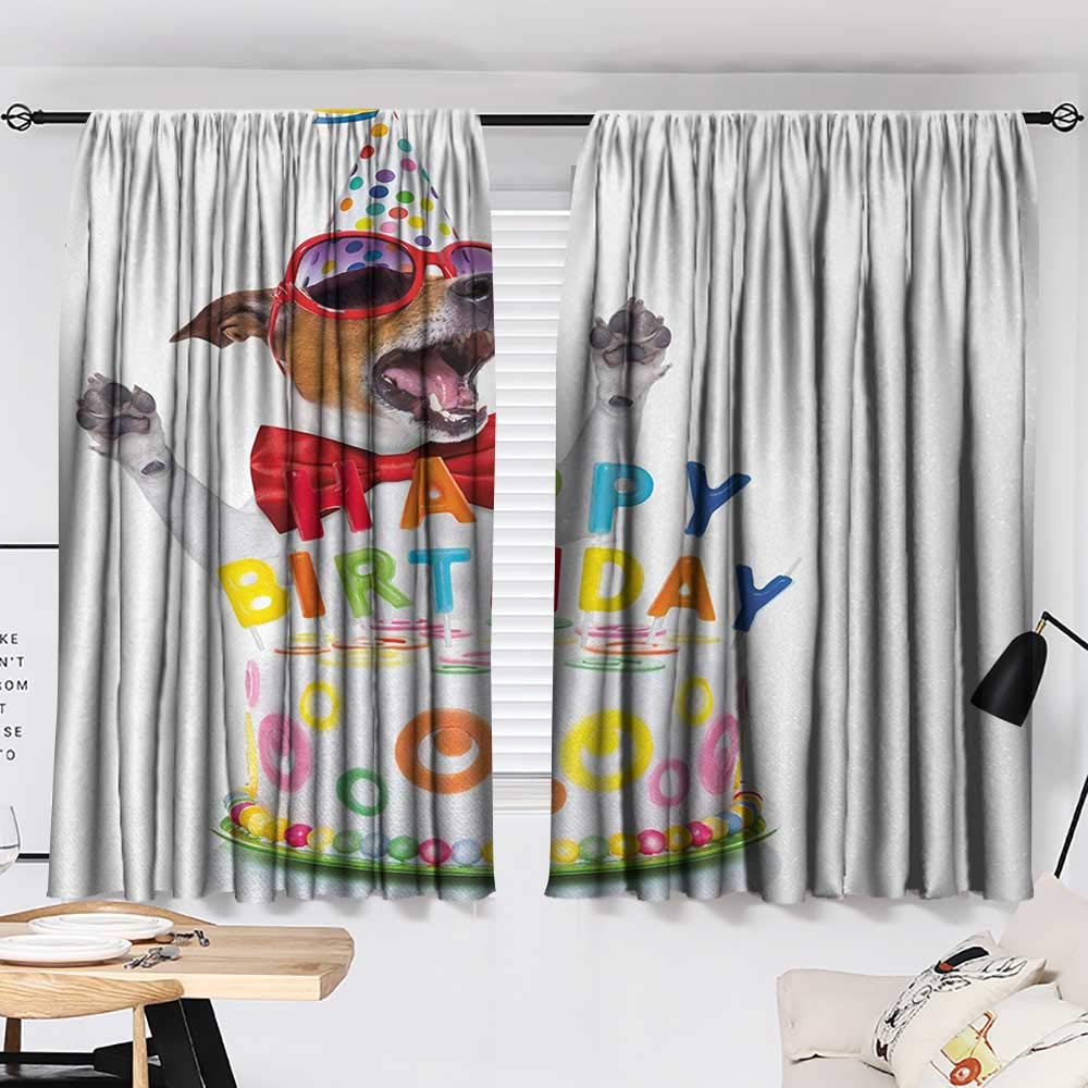 Jinguizi Kids Birthday Curtain Darkening Blackout Party Dog at Suprise Birthday Party with Cone Hat and Glasses Photograph Fun pop Darkening Curtains Multicolor W55 x L39 by Jinguizi (Image #2)