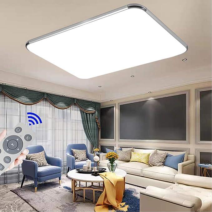 72W Plafon led de techo Regulable 5760LM Plafon LED Techo Cuadrad Iluminación interior para Dormitorio Comedor Cocina Balcón Marco de Aluminio Plateado [Clase de eficiencia energética A++]: Amazon.es: Iluminación