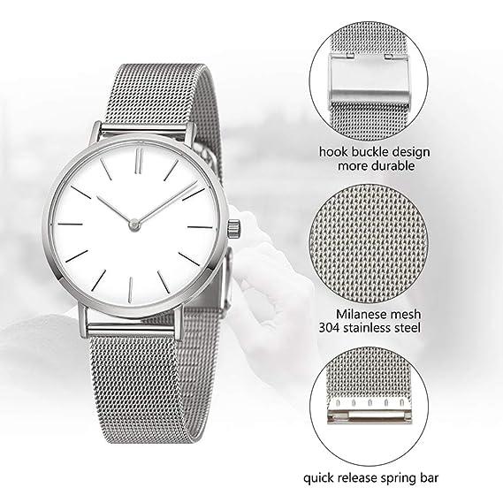 18mm correa de reloj de acero inoxidable ajustable cadena de plata reloj pulsera de malla milanese con hebilla de gancho: Amazon.es: Relojes