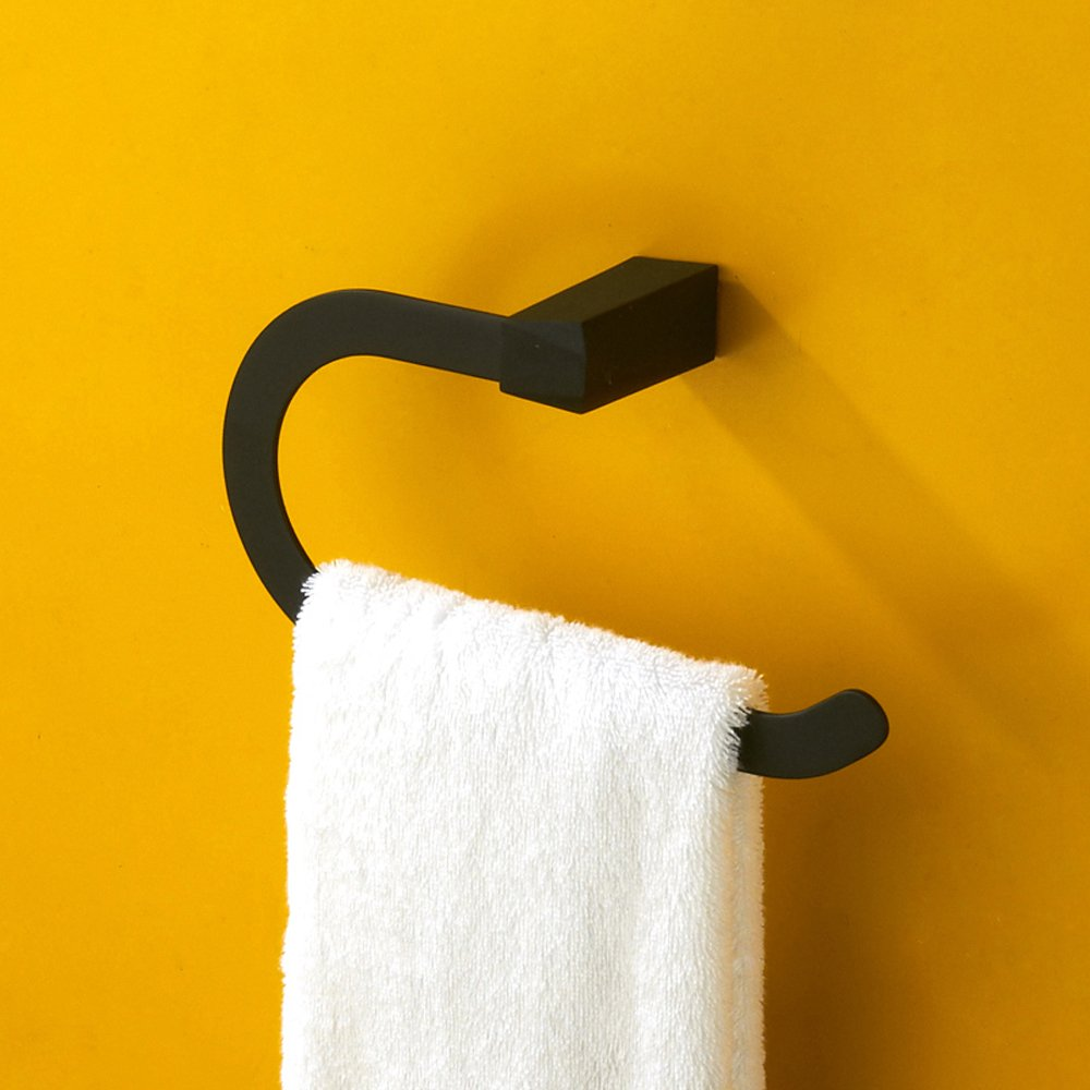 Marmolux Acc Black Towel Ring Stainless Steel Bathroom Holder Hotel Style Square Wall Mount Hanger for Shower Satin Finish