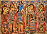 Shri Rama Sita Svayamvara - Madhubani Painting on Hand Made Paper - Folk Painting