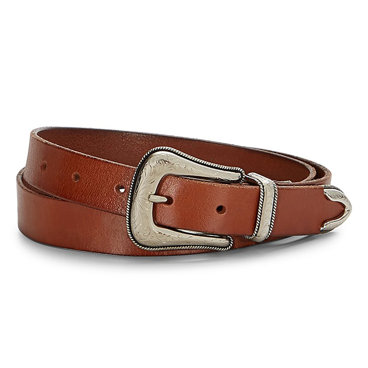 Rebecca Minkoff Women's Flat Strap 25mm Leather Belt, Brown (Large)