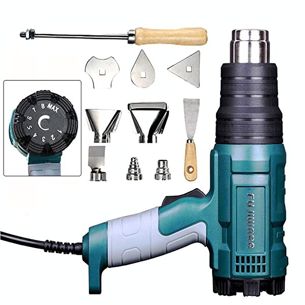 Heat Gun Variable Temperature, Hot Air Gun 122°F - 1020°F with 5 Nozzle Attachments for Stripping Paint, Shrinking PVC/Wrap, Cell Phone Repairs (1500W (Temp Adjustable)) (Color: 1500W (Temp Adjustable))