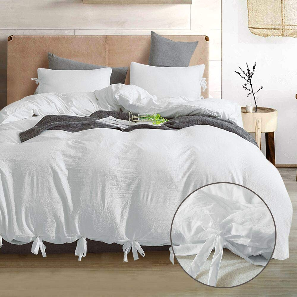 GiveUWant Bow tie White Duvet Cover Set Queen,3 Pieces(1 Duvet Cover, 2 Pillowcases) Soft Washed Cotton Bowknot Duvet Cover Set, Easy Care Bedding Set for Men, Women, Boys and Girls