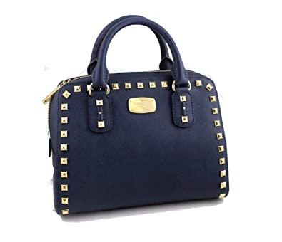 5971150fdc97 Michael Kors Saffiano Stud Small Satchel Handbag Navy  Handbags  Amazon.com
