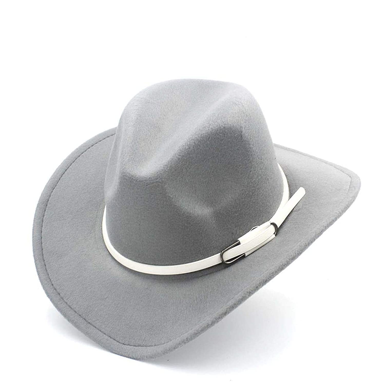 MingDe Sports Women Men Wool Western Cowboy Hat Roll-Up Wide Brim Felt Cowgirl Jazz Godfather Sombrero Cap with White Belt