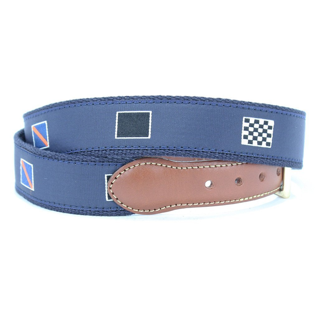 Racing Flags Leather Tab Belt in Navy by Country Club Prep