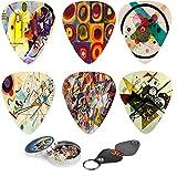 Abstract Art Guitar Picks - Wassily Kandinsky Paintings. 12 Medium Celluloid Guitar Picks In a Box W/ Picks Holder. Fantastic Plectrum Original Gift for Guitarist.