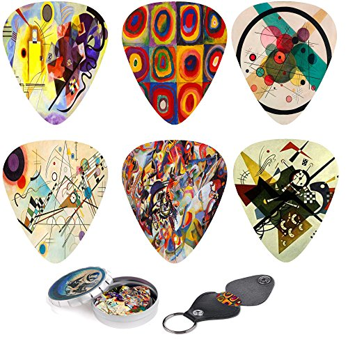 Abstract Art Cool Guitar Picks - Wassily Kandinsky Paintings. 12 Medium Gauge Celluloid Guitar Picks In a Box W/ Picks Holder. Unique Guitar Gift For Bass, Electric & Acoustic Guitars