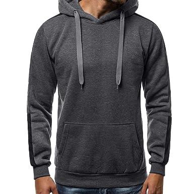 Sudadera Capucha Hombres Lisa, YiYLinneo Ocio De Los Hombres Sudadera Color SóLido Sweater Tapa De Botón Pullover Arriba Sweatshirts Man Hoodie: Amazon.es: ...