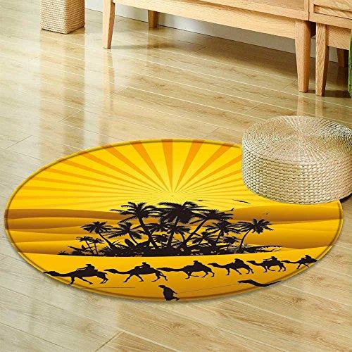 Sahara Small Rug - Small Round Rug CarpetSahara Lifestyle with Camel Silhouettes Door mat Indoors Bathroom Mats Non Slip-Round 63