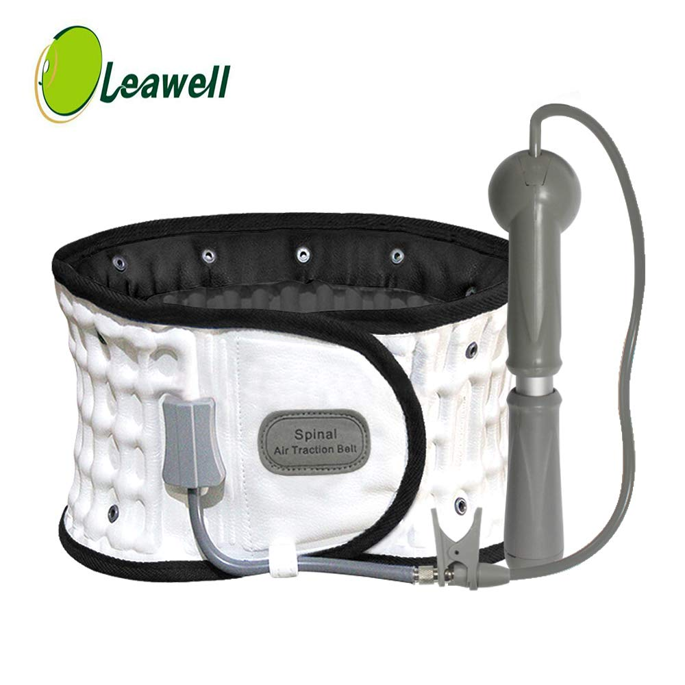 Decompression Back Belt with FDA Approved, White-Leawell Back Decompression Belt QY02(Waitst 29-49'') by Leawell