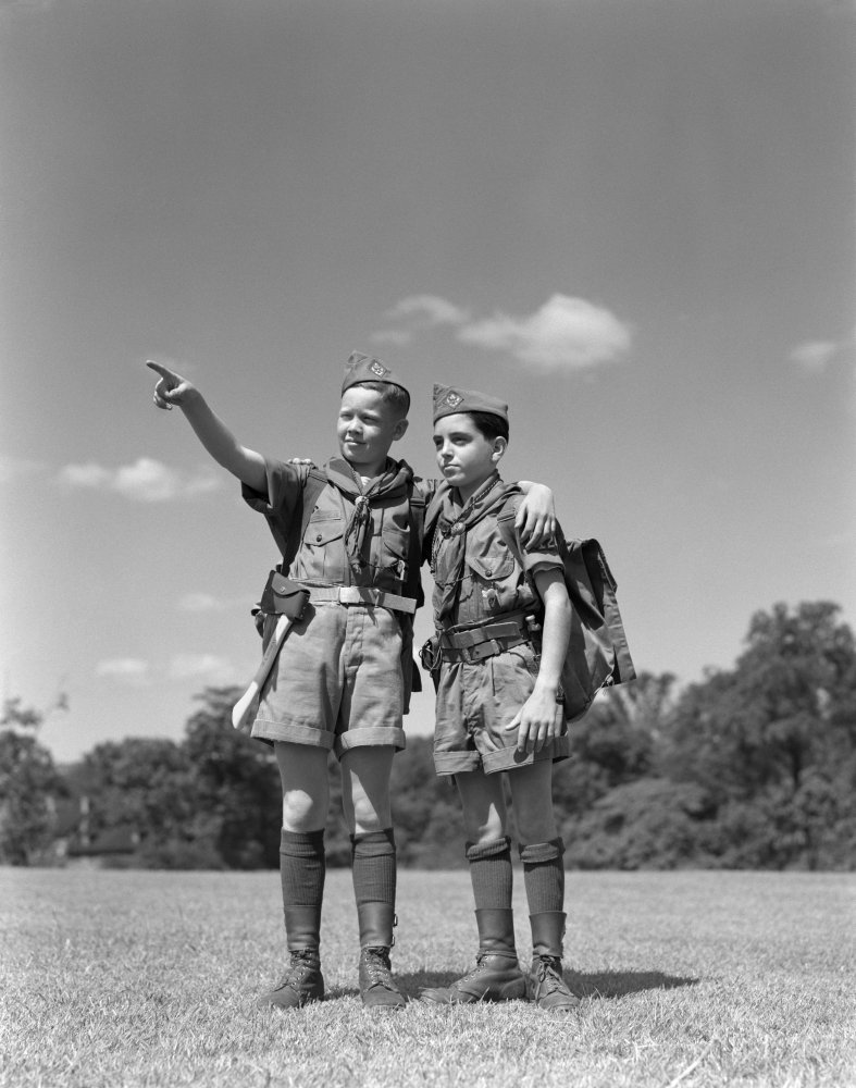 Posterazzi Poster Print Collection 1950s Two Boy Scouts One Pointing Wearing Hiking Gear Uniforms Vintage, (22 X 28), Multicolored by Posterazzi